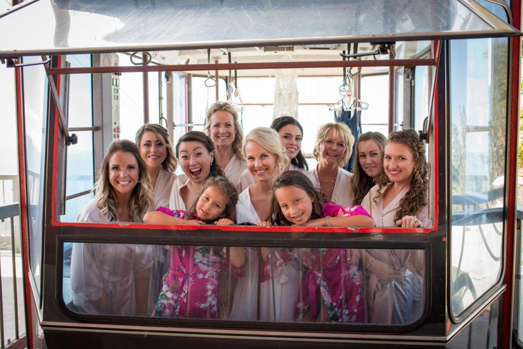 bridemaids in tram