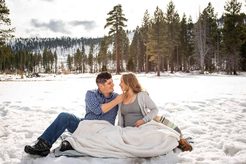 Winter Maternity Session Lake Tahoe